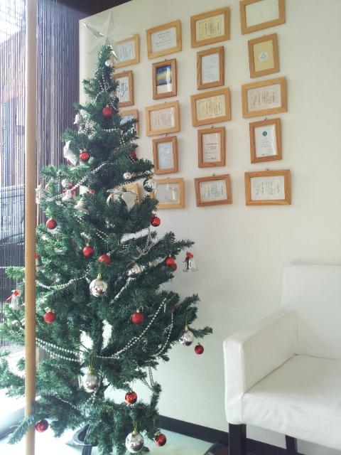 今年のクリスマスツリーは赤!