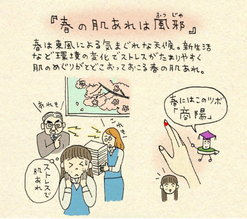 春の肌荒れに効くツボ「商陽(しょうよう)」