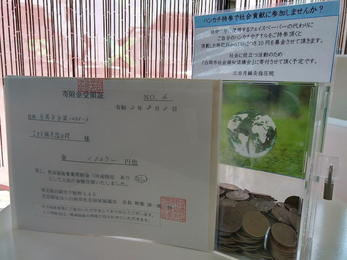 社会福祉協議会に1,027円を寄付させて頂きました。